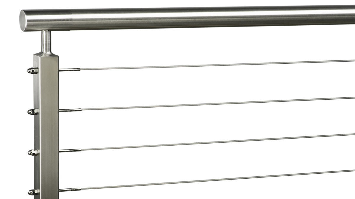 Stainless Steel Round Top Rail w/ Post Stem Reducer