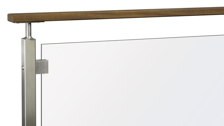 Stainless Steel Glass Panel Railing w/ Flat Top Rail w/ Post Stem Reducer