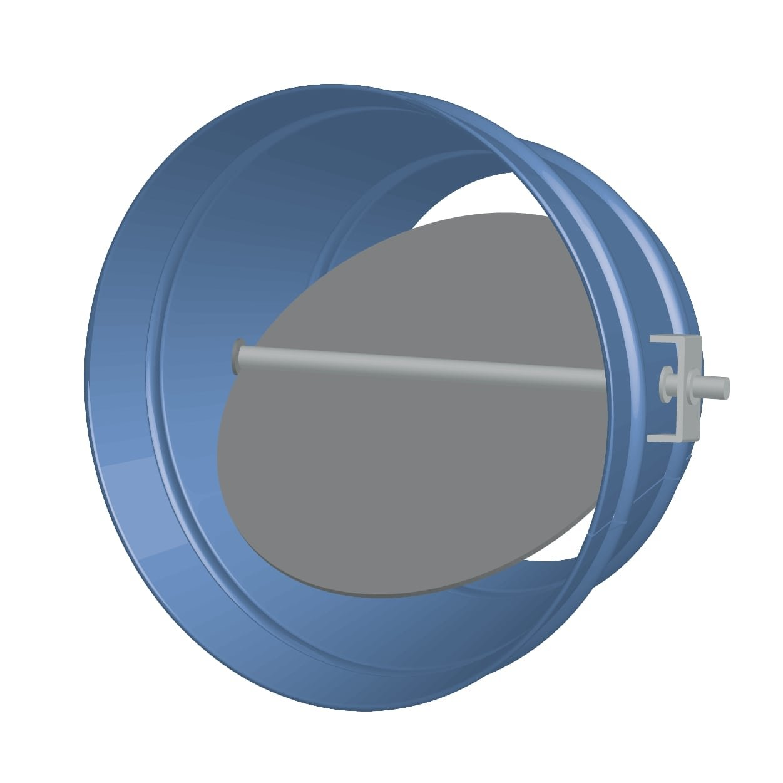 Round Single Blade Galvanized Steel Damper with Nine Position Locking Hand Quadrant