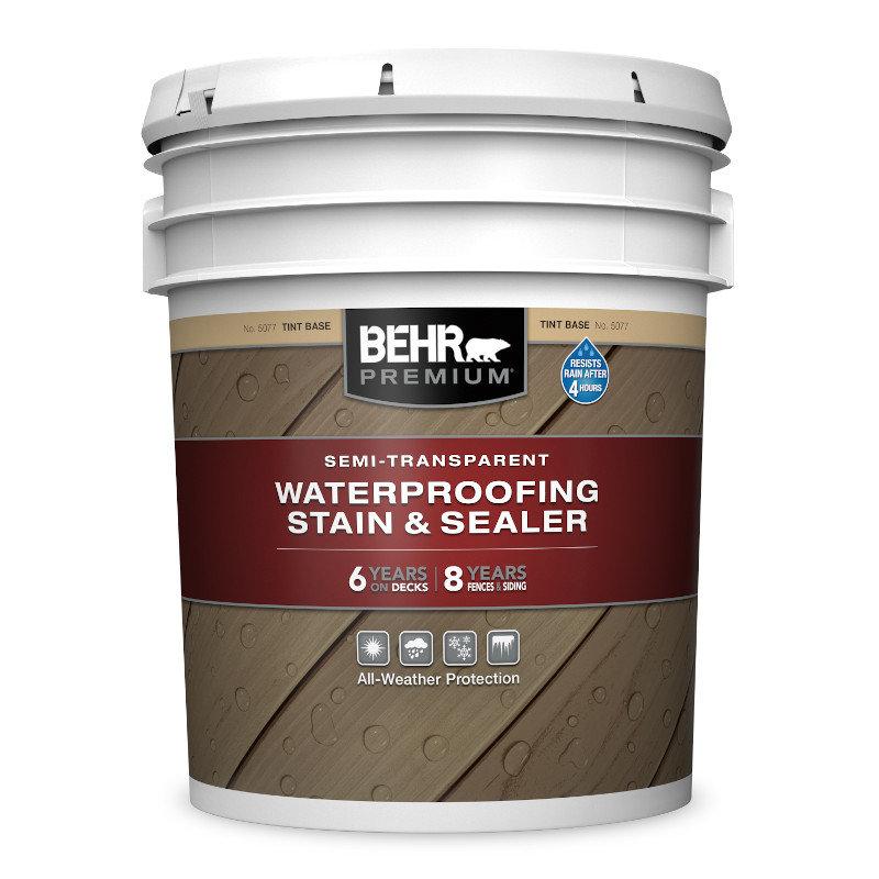 BEHR PREMIUM® SEMI-TRANSPARENT WATERPROOFING STAIN & SEALER No. 5077