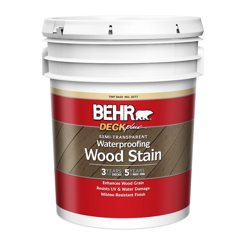 BEHR® DECKPLUS™ SEMI-TRANSPARENT WATERPROOFING WOOD STAIN No. 3077