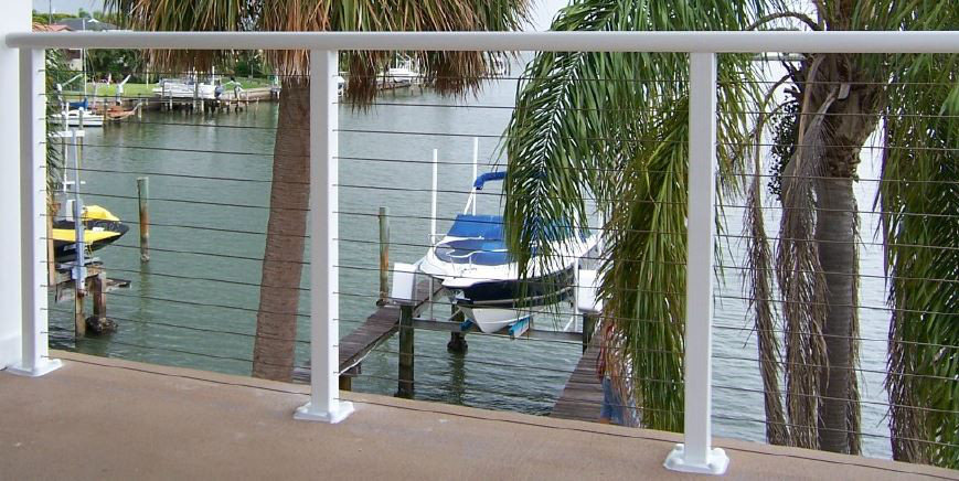 Aluminum Post Stainless Steel Cable Railing