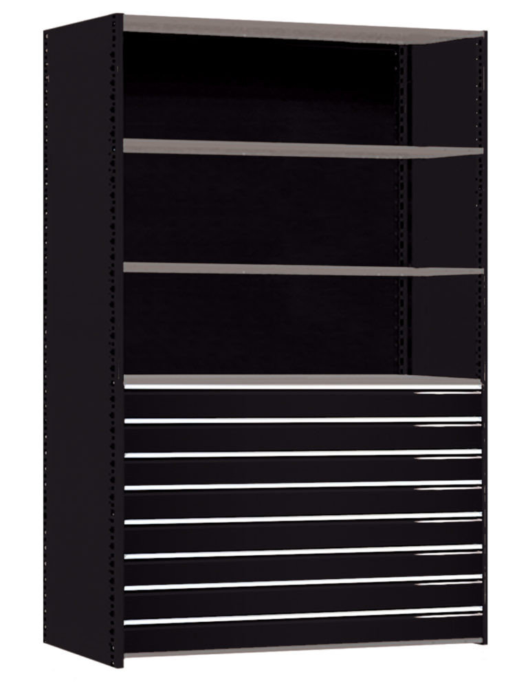 General Shelving With High-Density Heavy-Duty Drawers