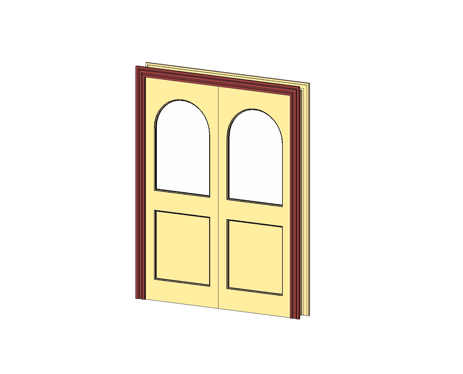 1290 #BCA00F Doors And Hardware: Common Doors: Entry Double: 2 Panel Glazed Round  save image Hardware For Double Doors 46771600