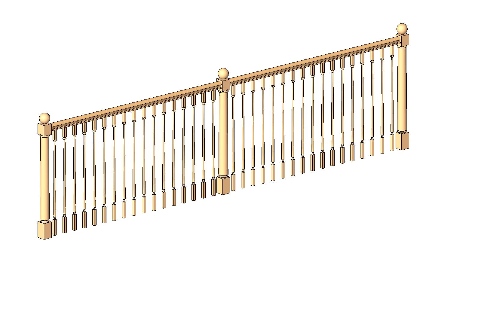 Generic wood stairs and railings bim objects families for Timber decking handrail