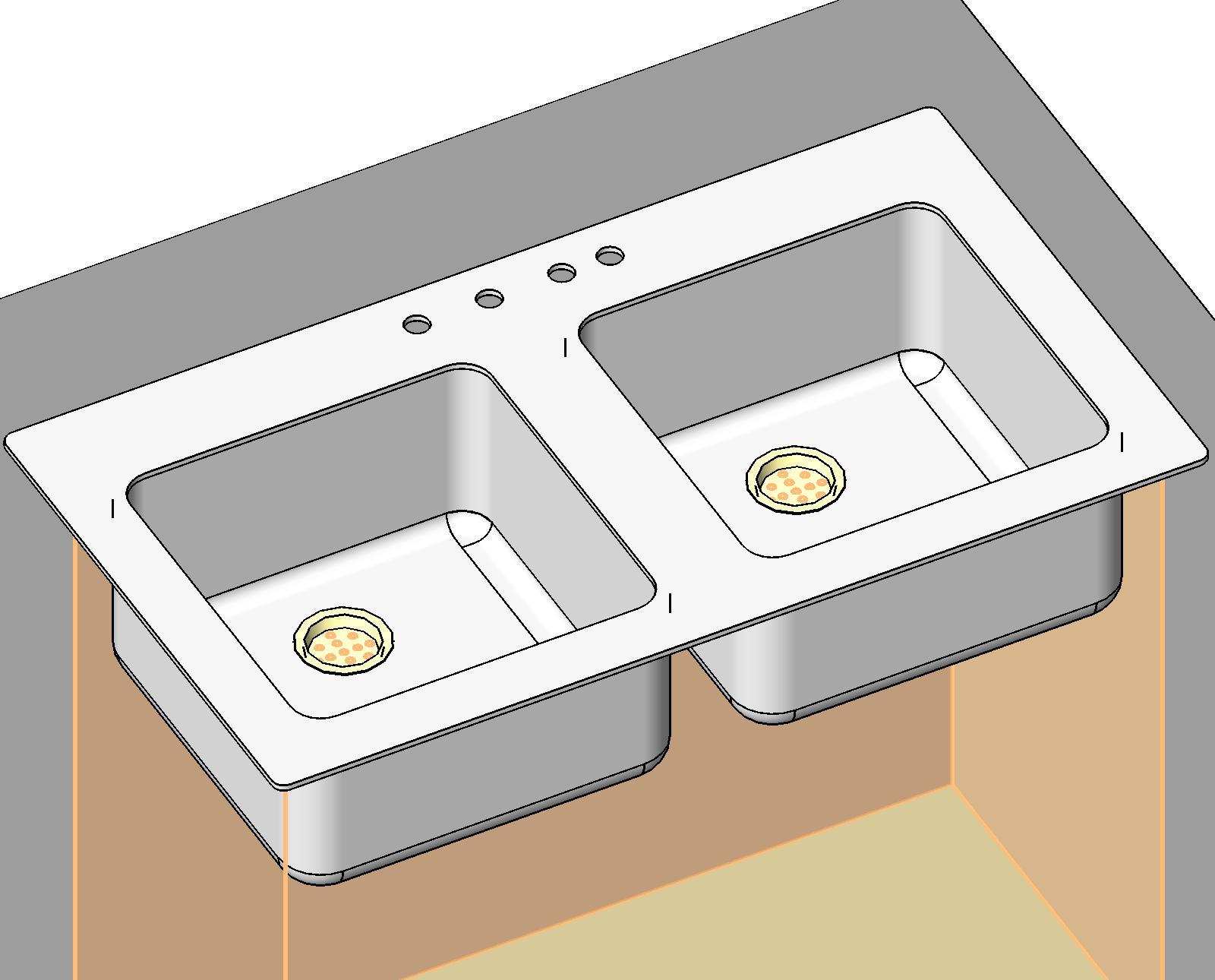Plumbing Fixtures: Kitchen: Sink - Double Bowl (Generic)