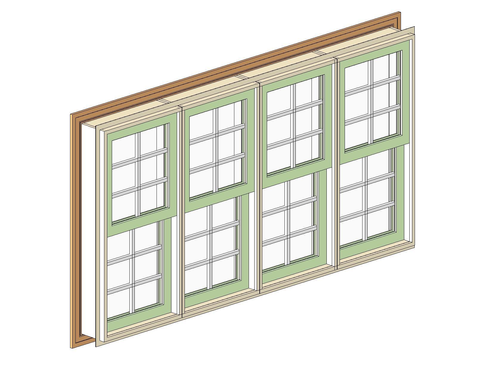 Double Mulled Window : Bim objects families