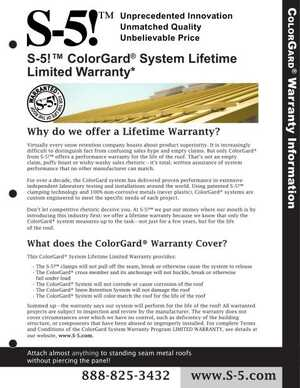 S-5! ColorGard Warranty Information