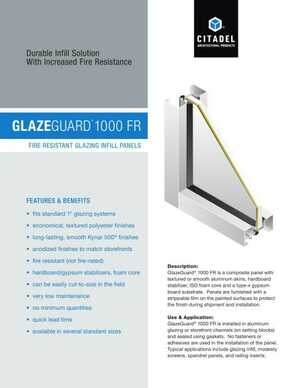 <!-- 044 -->GlazeGuard 1000 FR - Fire Resistant Glazing Infill Panels