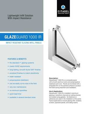 <!-- 046 -->GlazeGuard 1000 IR - Impace Resistant Glazing Infill Panels