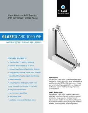 <!-- 048 -->GlazeGuard 1000 WR - Water Resistant Glazing Infill Panels