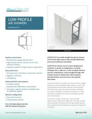 <!-- 016 -->Low-Profile Straight-Thru Air Showers - CAP701LP-ST