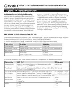 Skylands Concrete Deck Pavers Product Data Sheet