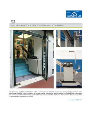 X3 Commercial Battery Powered Inclined Platform Lift