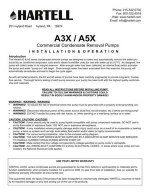 <!-- 018 -->Installation Manual - A3X / A5X Commercial Condensate Removal Pumps