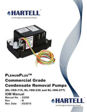 <!-- 020 -->IOM Manual - PlenumPlus™ Commercial Grade Condensate Removal Pumps (KL-1DG-115, KL-1DG-230 and KL-1DG-277)