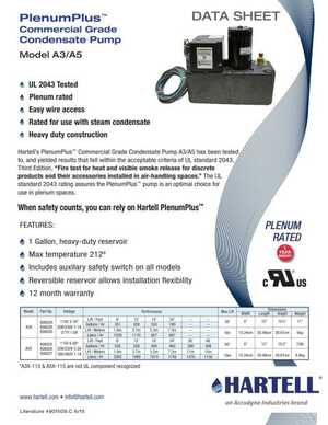 <!-- 011 -->PlenumPlus™ Commercial Grade Condensate Pump Model A3/A5