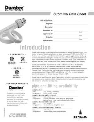 Submittal Datasheet - IPEX Duratec Airline