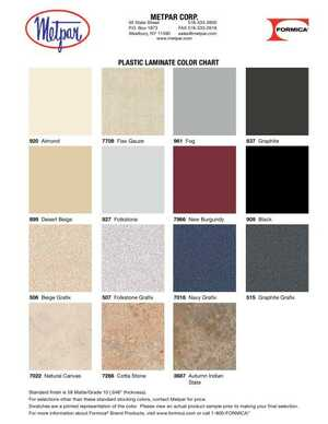 <!-- 016 -->Plastic Laminate Color Chart