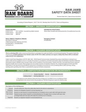 <!-- 012 -->Ram Jamb Safety Data Sheet