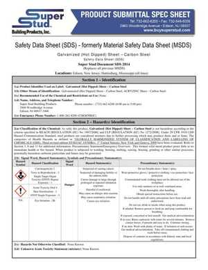 Product Submittal Spec Sheet
