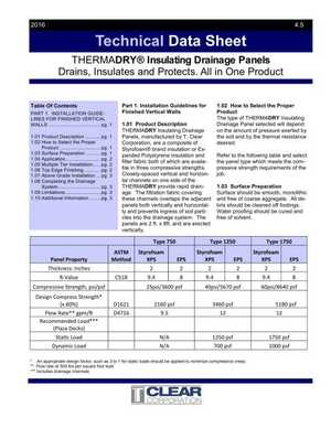 Technical Data Sheet - ThermaDRY Insulating Drainage Panels