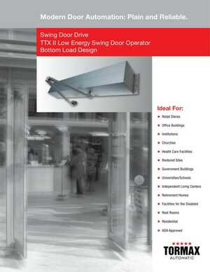 Swing Door Drive TTX II Low Energy Swing Door Operator Bottom Load Design