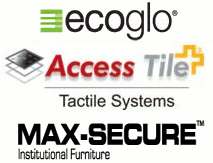 Photoluminescent Products<BR>Tactile Warning Indicators<BR>Institutional Furniture by Access Products / Ecoglo