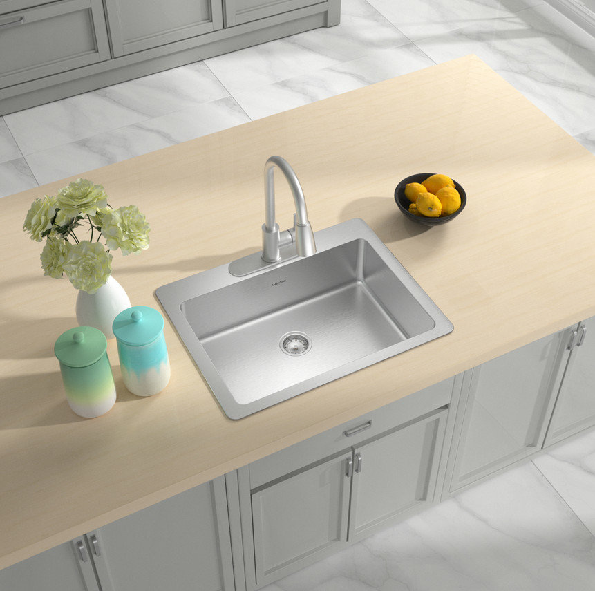 Single Bowl Topmount Builder Stainless Steel Sink