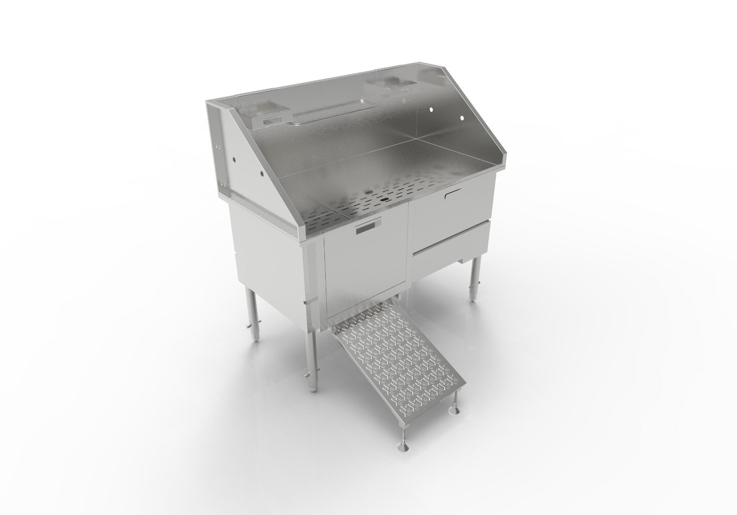 ADA Compliant, Handcrafted Stand-Alone Stainless Steel Dog Bath Stations