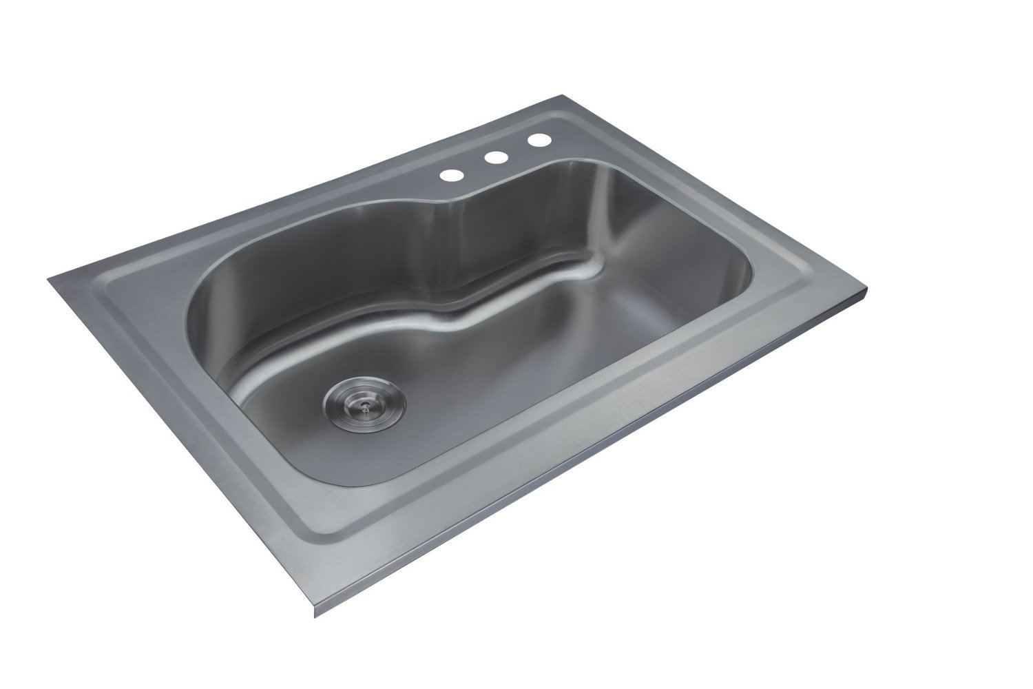 Single Bowl Slide-In Topmount Economy Stainless Steel Kitchen Sink