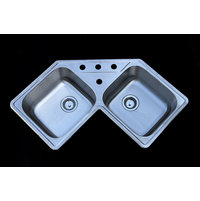 Double Bowl Topmount Trend Stainless Steel Corner Kitchen Sink image