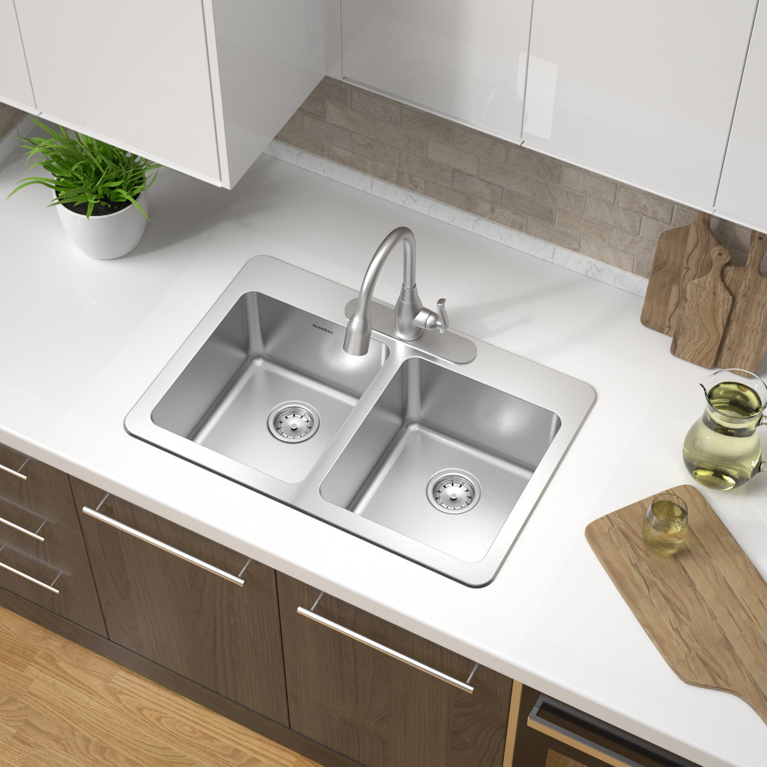 Double Bowl Topmount Builder Stainless Steel Sink