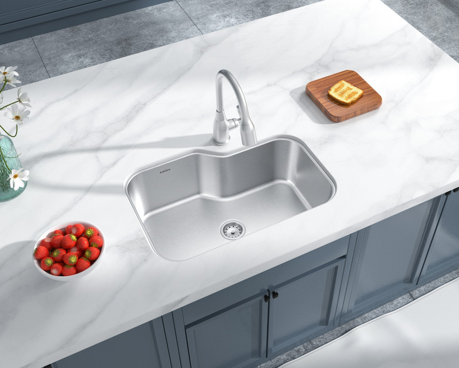Single Bowl Undermount Deluxe Stainless Steel Kitchen Sink