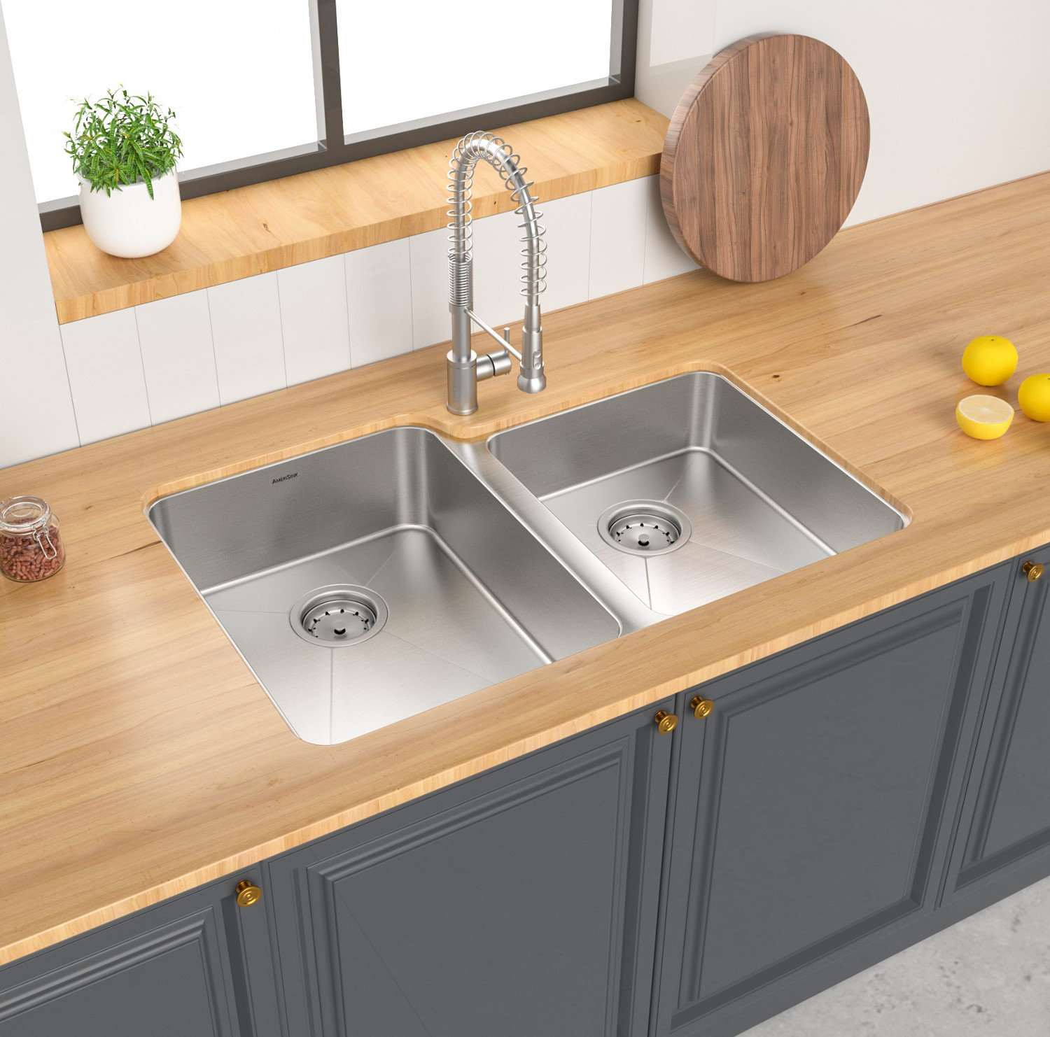 Double Bowl Undermount Legend Stainless Steel Kitchen Sink