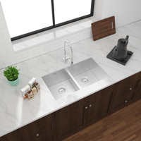 Low Divider Double Bowl Undermount Legend Stainless Steel Kitchen Sink image