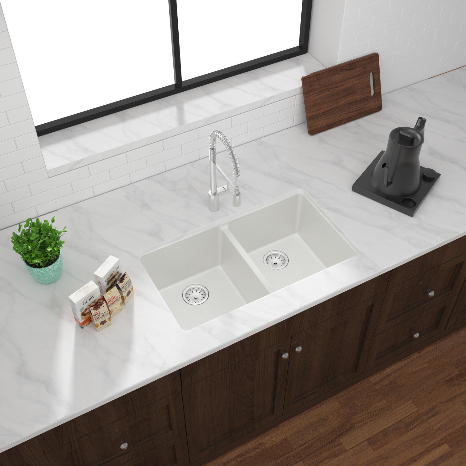 Double Bowl Undermount Granite Composite Kitchen Sink
