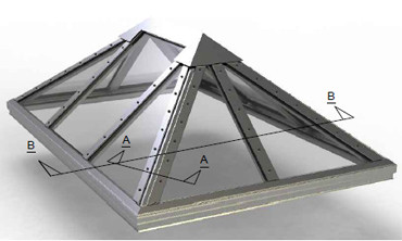 Structural Pyramid Skylight Hip End Image
