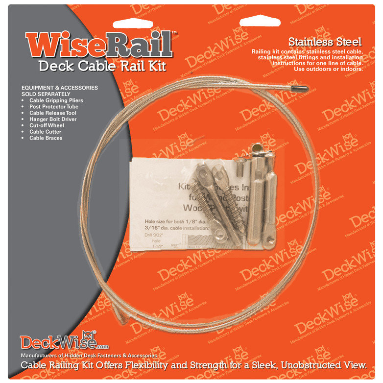 WiseRail® Pre-Packaged 316 Stainless Steel Deck Cable Rail Kits