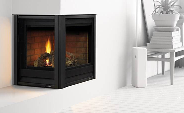 two sided corner gas fireplace