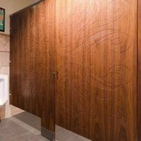 Ironwood Manufacturing, Co. - Toilet Partitions image | Wood Veneer with Engraving