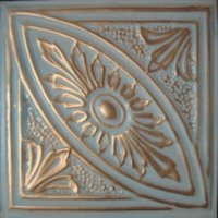 "Solid Copper/12"" x 12"" White Faux Finish  image"