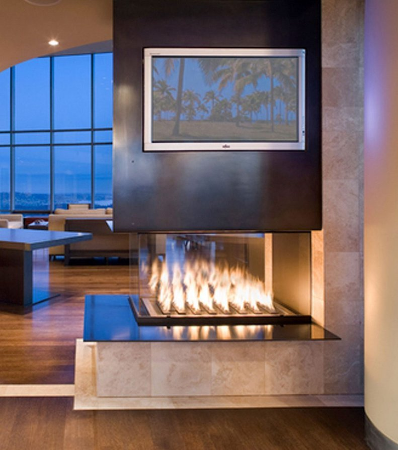 Gas Fireplace - Custom Commercial - 8ft Modern Pier