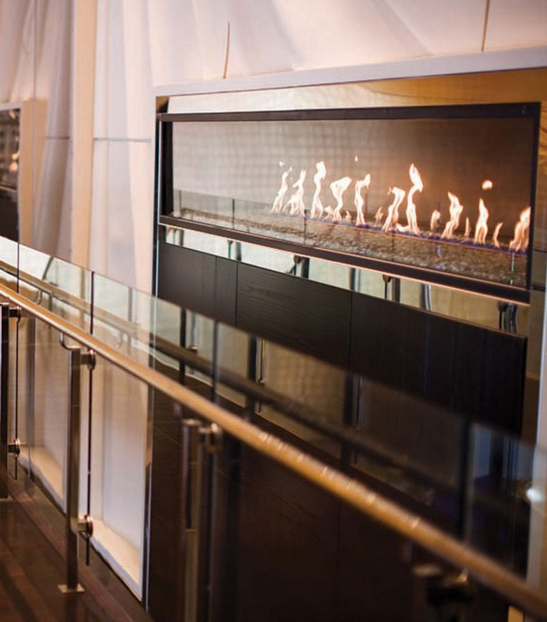 Gas Fireplace - Custom Commercial - 12ft Modern Single Sided