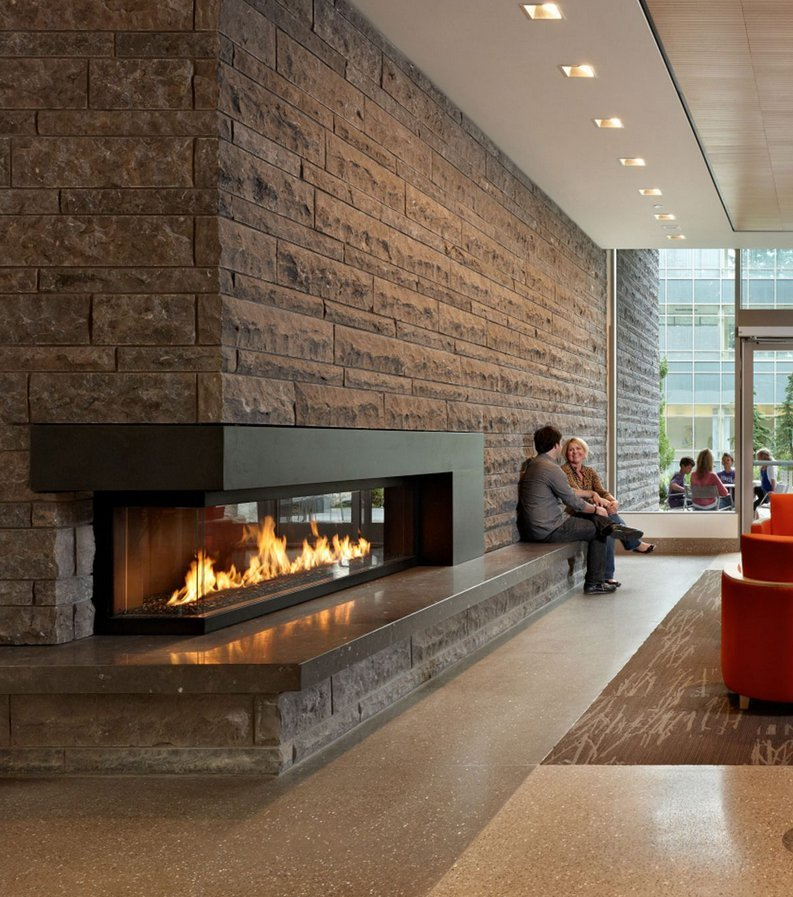 Gas Fireplace - Custom Commercial - 10ft Modern Corner