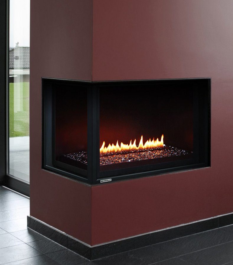 "Gas Fireplace - Residential - 38"" Modern Corner"