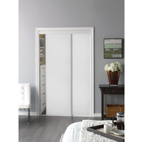 Sliding Bypass Door with White Panel Insert & Narrow Stile image