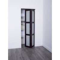Prefinished Engineered Wood Bifold Sliding Door with 3 Lite Frosted Insert & Espresso Finish image