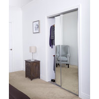 Aluminum Sliding Bypass Door with Mirror Insert & Narrow Stile image