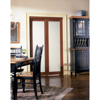 Prefinished Engineered Wood Bypass Sliding Door with 1 Lite Frosted Insert & Cherry Finish image